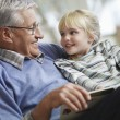 Grandfather reading to girl — Stock Photo #33844351