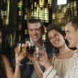 Two young couples toasting drinks — Stock Photo #33845221
