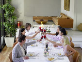 Friends Toasting at Dinner Party — Stock Photo
