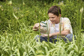 Boy Looking at Insects — Stock Photo
