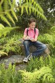 Boy Studying Plants — Stock Photo