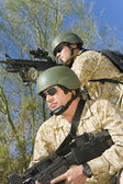 Two soldiers on patrol — Stock Photo