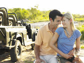 Couple embracing outdoors — Stock Photo
