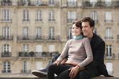 Couple posing on bridge — Stock Photo