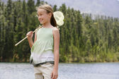Girl Catching Bugs — Stock Photo