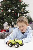 Boy Playing with Toy Truck — Stock Photo