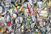 Pile of tin cans full frame — Stock Photo