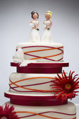 Bridesmaid Figurines on Wedding Cake — Stock Photo