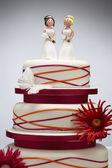 Bridesmaid Figurines on Wedding Cake — Stock Photo