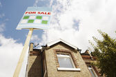 For Sale Sign Outside House — Stock Photo