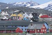 Danish village below Mountain Range — Stock Photo
