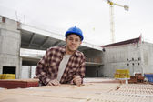 Construction worker on building site — Stock Photo