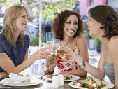 Three Friends at Cafe — Stock Photo