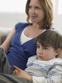 Mother and Son Watching TV — Stock Photo