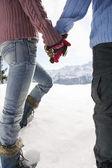 Couple walking through snow — Stock Photo