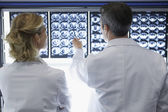 Doctors discussing brain scans — Stok fotoğraf