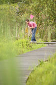 Boy Looking for Wildlife — Stock Photo