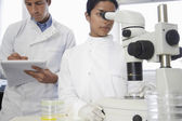 Female lab worker adjusting microscope — Stock Photo