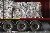 Stacks of recycled paper in lorry — Foto de Stock