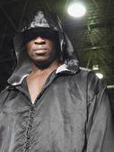 Boxer wearing robe — Stock Photo