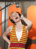 Singer at Recording Studio — Stock Photo