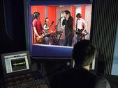 Band in recording studio — Stock Photo