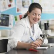 Girl using microscope — Stock Photo #33850667