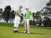 Golfers Shaking Hands — Stock Photo