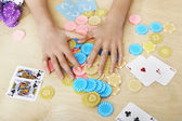 Woman Grabbing Gambling Chips — Stock Photo