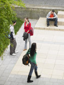Students on school grounds — Stock Photo