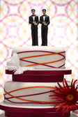 Groom Figurines on Wedding Cake — Stock Photo