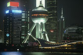 Pudong Oriental Pearl Tower at night — Stock Photo