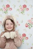 Girl in bunny costume — Stock Photo