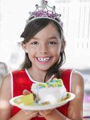 Dziewczyna z bułka z masłem — Zdjęcie stockowe