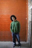 Man With Afro smiling — Stock Photo