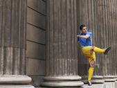 Soccer Player by Columns — Stockfoto