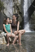 Mother and Daughter in Natural Pool — Stock Photo