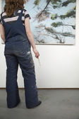 Painter in Front of Canvas — Stock Photo