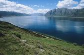 Water reservoir in mountain landscape — Stock Photo
