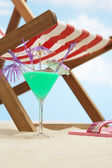 Coctail next deckchair — Stock Photo