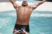 Man  diving backwards — Stock Photo
