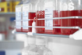 Red chemicals in laboratory — Stock fotografie