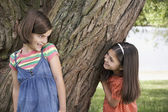Girls Playing Hide-and-Seek — Stock Photo