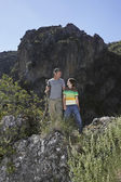 Father and Son in Rocky Landscape — Stock Photo