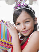 Girl  with birthday present — Foto Stock