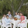 Family sitting garden table — Stock Photo #33879279