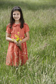Girl Holding Bunch — Stock Photo