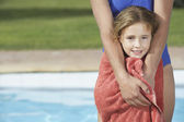 Girl  wrapped in towel — Stock Photo