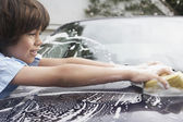Boy Washing Car — Stock Photo