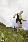 Jogger Running Downhill — Stock Photo